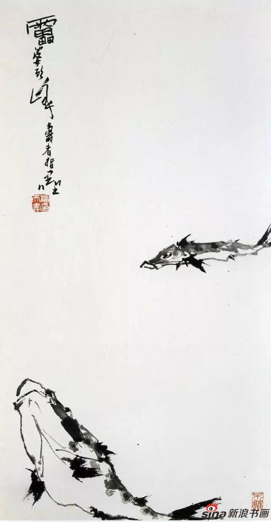 潘天寿 鱼乐图轴 中国画(指墨) 108cm×57.5cm 1962年