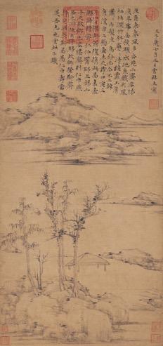 倪瓒《容膝斋图》纸本 水墨 立轴纵94.2厘米 横35.4厘米