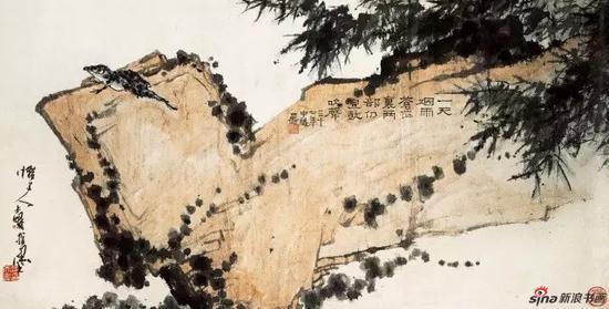 潘天寿 烟雨蛙声图 中国画(指墨) 68×135cm 1948