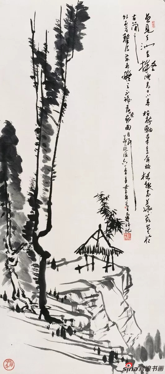 潘天寿 小亭枯树图轴 纸本、水墨 139.5×62cm 1961年