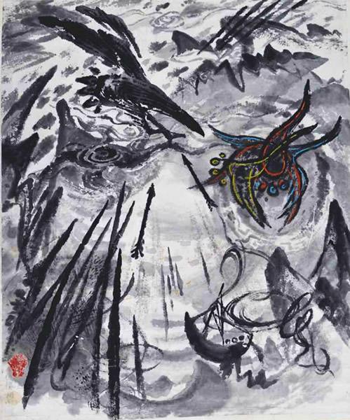 仇德树 在不安的世界里之二 纸本水墨、蜡笔彩、印 116×96.5cm 1979