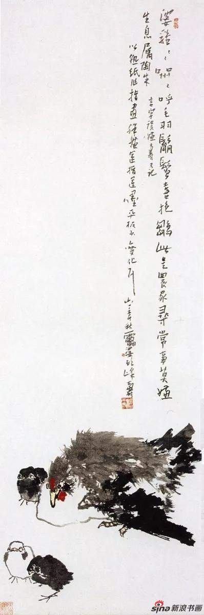 潘天寿 抱雏图 中国画(指墨) 151.5×48.5cm 1961年
