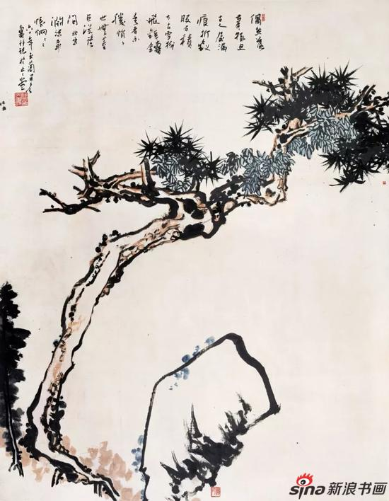 潘天寿 松石图轴 179.5×140cm 1960年