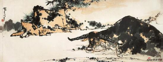 潘天寿 夏塘水牛图 中国画(指墨) 142.7×367cm 1960年代