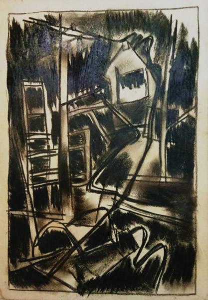 李山 无题  纸本炭笔 31×22cm  1967