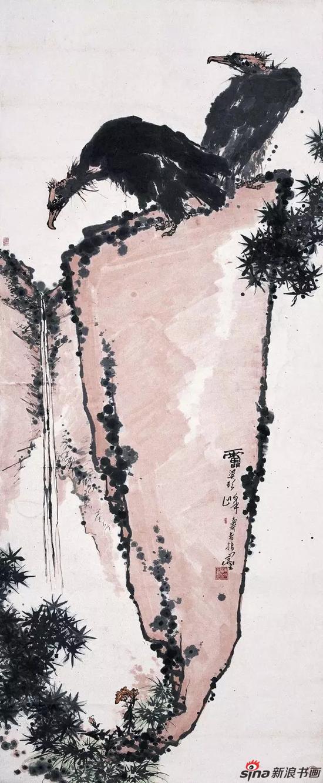 潘天寿 雄视图 中国画(指墨) 347.3×143cm 1960年代