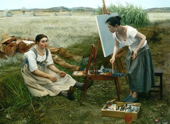 王蓉《采风经典——垛草》油画 146x194cm