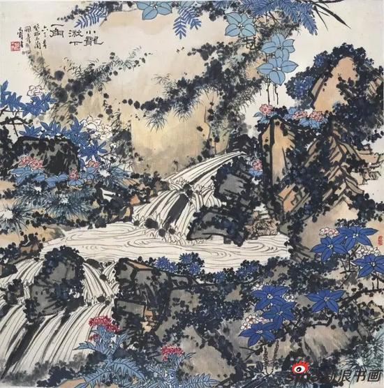 潘天寿 小龙湫下一角图 中国画 107.8×107.5cm 1963年