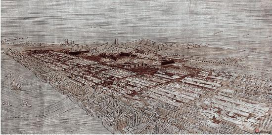 徐增英《上海·大码头》版画 93x185cm