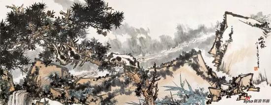 潘天寿 雨霁图卷 中国画 141×363.3cm 1962年
