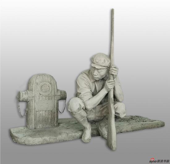 邱加《静夜》雕塑 140x68x102cm