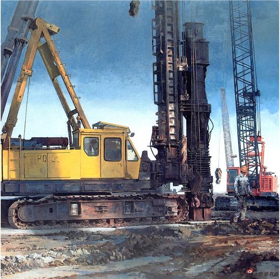 孙化一《力的构成之三》油画 197x197cm