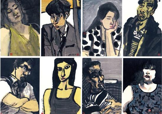 季平《都市人物系列组画》中国画 56x38cm(8件)