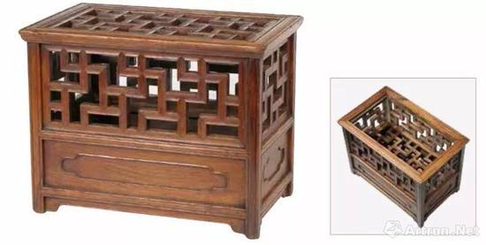 黄花梨鹌鹑笼箱 晚明至清前期 (1600–1700) 长40 厘米 宽25.1 厘米 高30.7 厘米