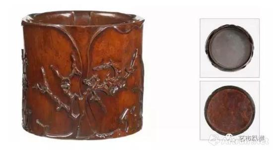 黄花梨雕花卉笔筒 十七至十八世纪