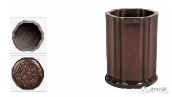 紫檀葵瓣式嵌银笔筒 十七至十八世纪 长13 厘米 宽12.2 厘米  高18厘米