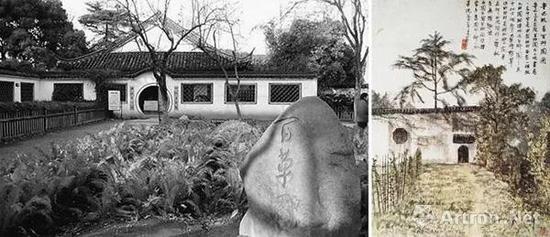 左:百草园实景图 右:《百草园》北京画院藏