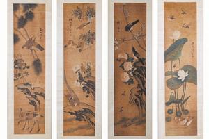 许春田四条屏的花鸟画,每幅高170cm,宽41cm