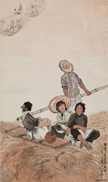 歌声荡漾稻船归 金志远 徐孅 1962年 173.8x103cm 国画 中国美术馆藏