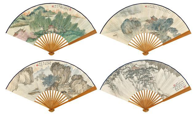 溥心畬(1896-1963) 四季山水坤扇一组