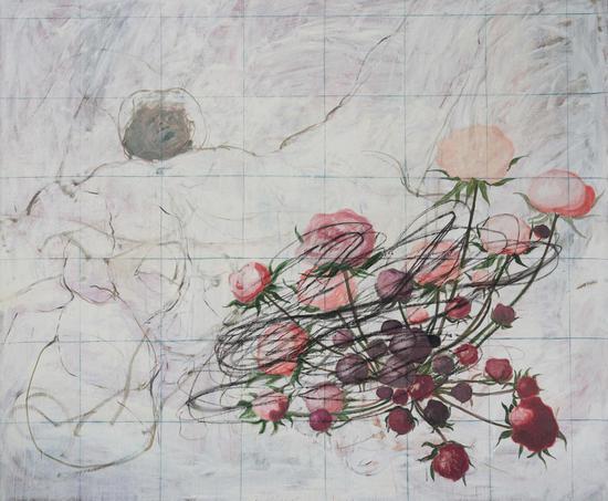 三十六支花 Thirty six flowers,布面油畫 Oil on canvas,250x300cm ,2016-2018