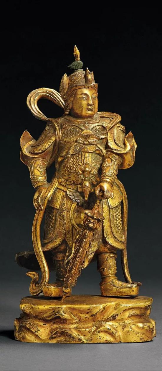 * Lot.886明末清初 铜鎏金韦驮    31.5cm。 High