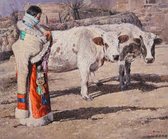 栾布作品《姑娘与牛》180x150cm 2013年