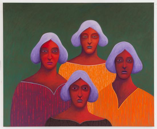 《四人肖像》,2018,布面色粉,150.2 × 180.3 × 2.5 cm,由艺术家及The Modern Institute/TobyWebsterLtd(格拉斯哥)惠允