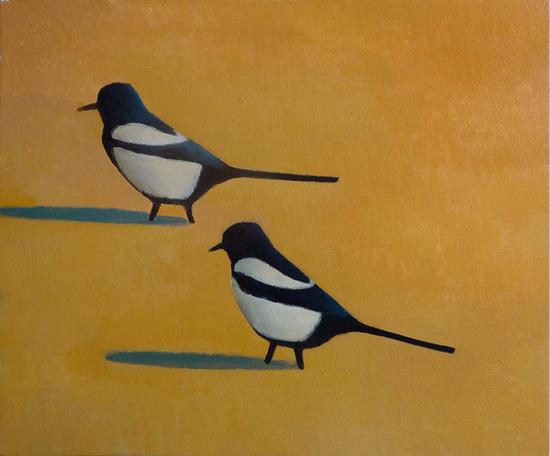 无题(黑色的鸟和橘黄色背景) 50x60cm 布面丙烯 2018