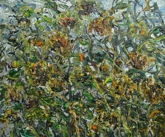 《冷水向日葵2号》Cold water Sunflower No. 2 2015年9月150cmX180cm布面丙烯Acrylic on canvas(参加法国2016年第108届巴黎秋季艺术沙龙展 (1)