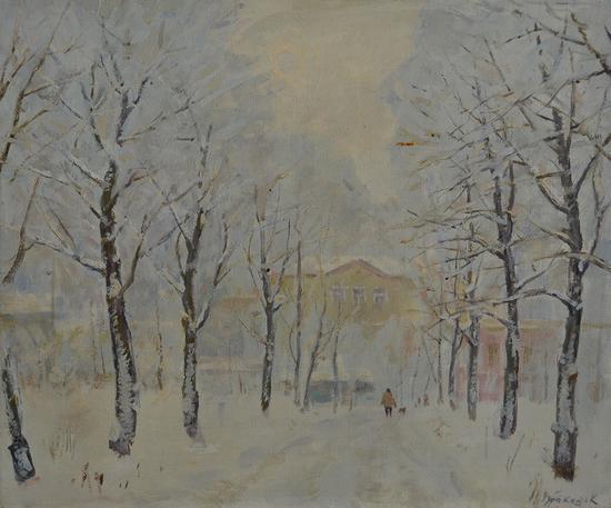 丘拉科夫˙康斯坦丁-雪景-1990-油彩畫布-50x60cm(12F)