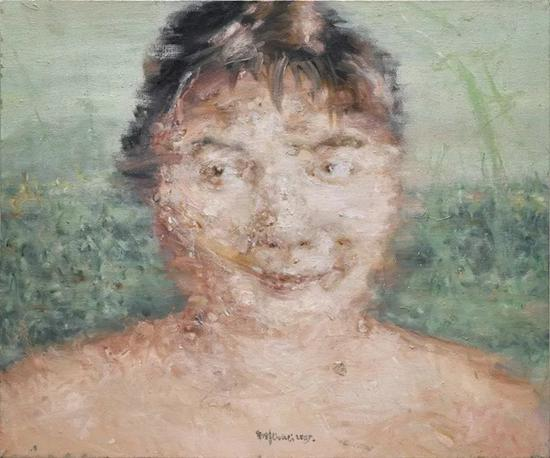 Lot.668 刘炜 《朋友肖像》 布面油画 2005年 50x60cm。