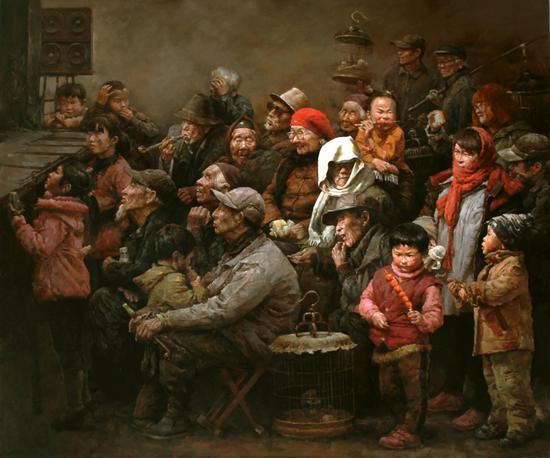 """油画《父亲的戏台》,180cm*150cm,2016年。2016年7月入选""""中国精神-第四届中国油画展(写实展)""""。2017年9月入选""""色彩中华——2017·中国百家金陵画展(油画)""""2018年7月参加在中国美术馆举办的""""中国精神-第四届中国油画展综合进京展""""。"""