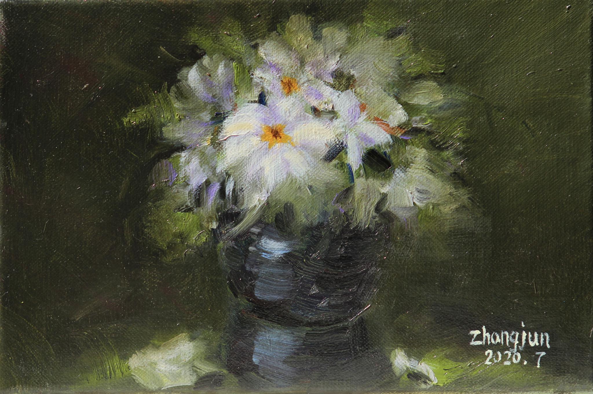 钟俊《一帘幽梦》20 x 30 cm 布面油画 2020