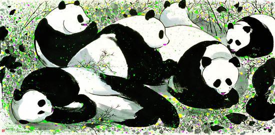 吴冠中 大熊猫 140x70cm 纸本水墨
