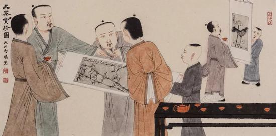 《品茗博古图》 2018年 35 x 70 cm 纸本