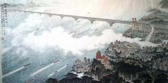 虹桥飞跨大江流