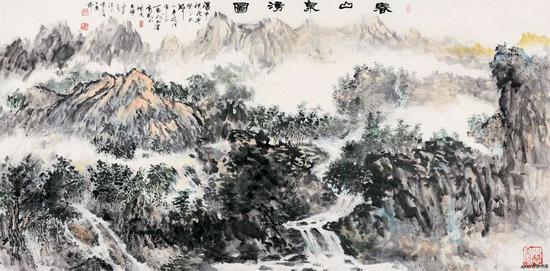 《春山泉涌图》248x129cm 2018