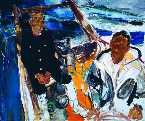 戴士和《大连渔民》布面油画 100x100cm 2014年