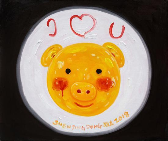 小猪 50×60cm 2018 布面油画