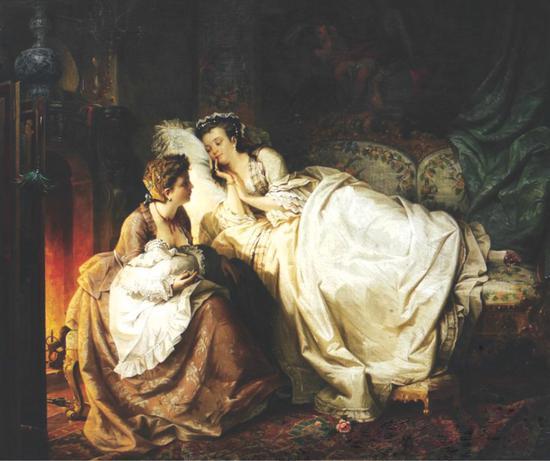 《幸福的年轻妈妈》卡尔.贺裴夫(德国1836-1897 年) 签署左下 布?油画 85 x 102 cm