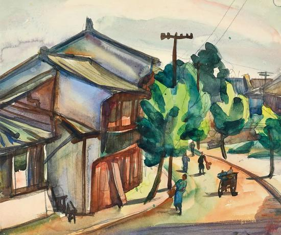 Lot.737 倪贻德 街头之二 1948年   纸本水彩 24×28.5cm。   来源:直接征集自画家家属