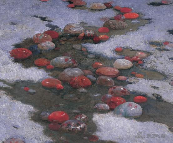 李天祥、赵友萍 《雨花石》 《 路漫漫》组画之三 尺寸不详 布面油画 1982年