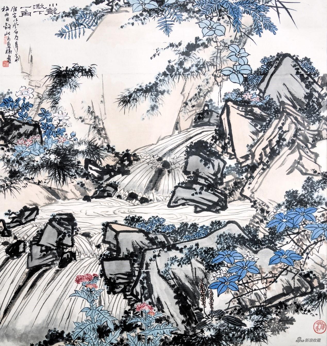 展出作品:潘天寿《小龙湫下一角》