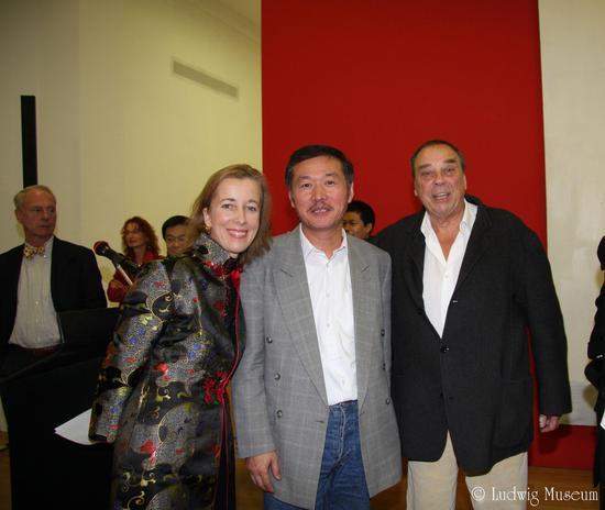 杨起在路德维希美术馆个展开幕式上和冉芬莎尔德馆长,零派创始人,著名艺术家于克