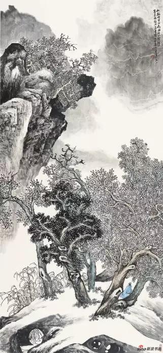 《古树高岩观云起》 211cm×97cm   陈 强