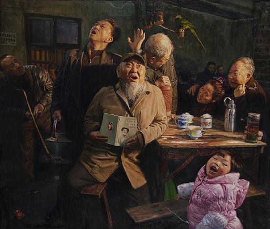 陈安健《茶馆系列-太阳升》 121.5x102.5cm 2012年 布面油画