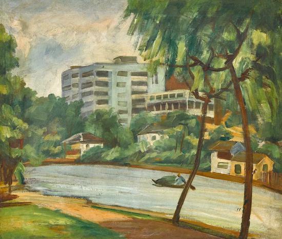 Lot.733 倪贻德 风景、芍药(双面画)1940年代   布面油画 42×49cm。(正面)45×37cm。(背面)   来源:直接征集自画家家属