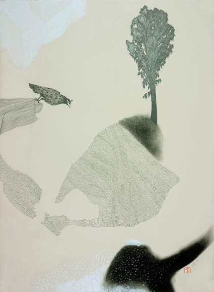 《水耳语记忆》综合材料、纸本,56 x 56 cm,2017
