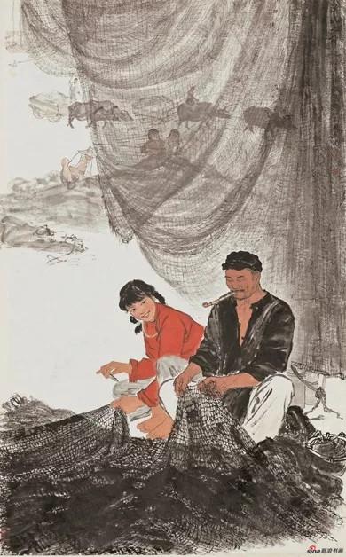 渔汛之前 徐孅 1962年 155x96cm 国画 中国美术馆藏